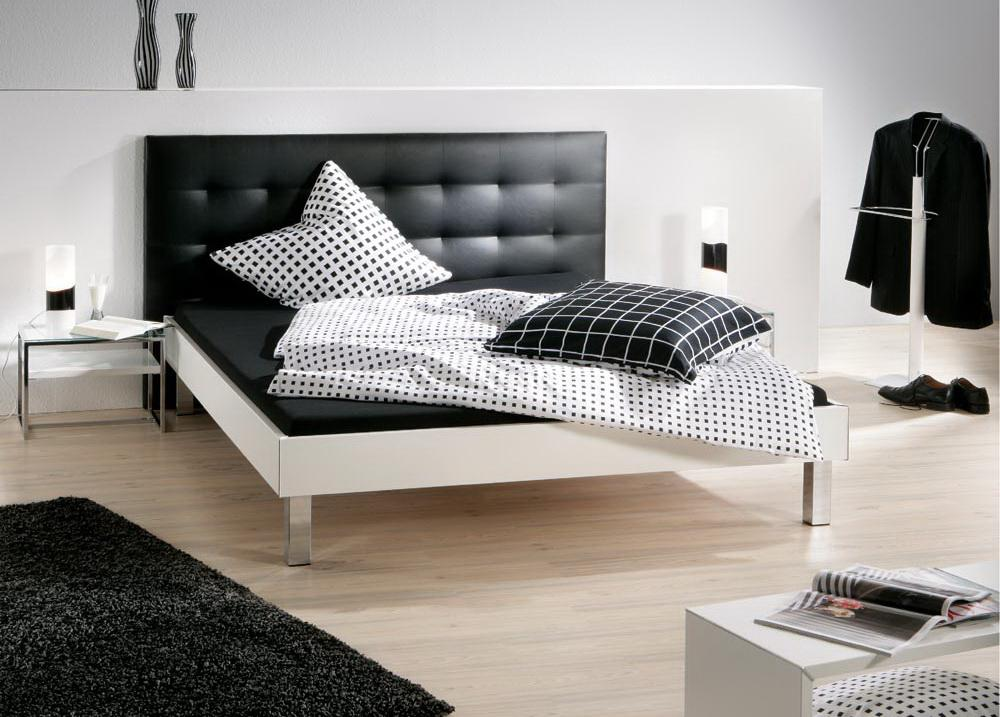bett 180 x 200 cm wei kunstleder schwarz kaufen bei lifestyle4living m belvertrieb gmbh. Black Bedroom Furniture Sets. Home Design Ideas