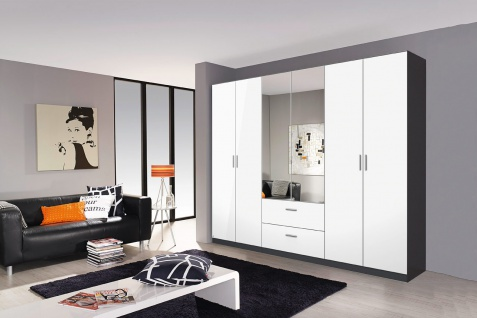 dreht renschrank grau fronten hochglanz wei kaufen bei lifestyle4living m belvertrieb gmbh. Black Bedroom Furniture Sets. Home Design Ideas