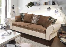 Sofa mit Microvelourbezug in creme/kastanie