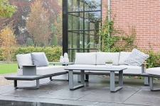 3-teiliges Lounge-Set aus Aluminium in anthrazit