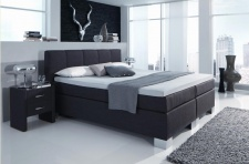 Boxspringbett in Webstoff anthrazit meliert