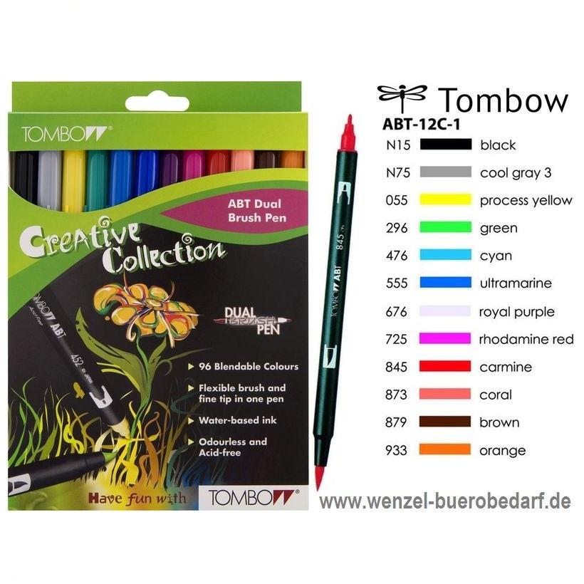 Tombow Dual Brush Pen 12er-Set Grundfarben
