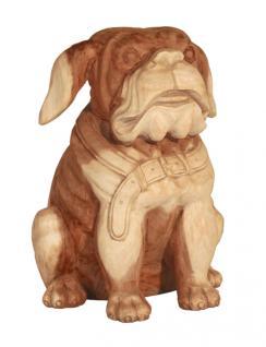 "Wohndekoration Hundskulptur ""Bulldogge"" aus Teakholz"