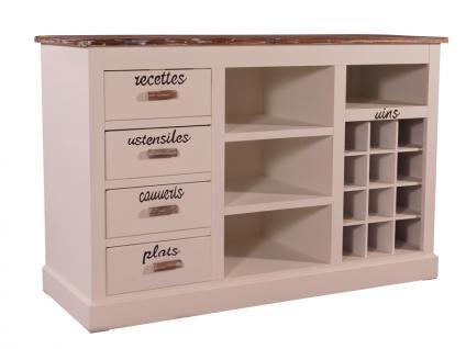 Sideboard Toulouse Landhaus Stil Holz Vintage Look creme weiß
