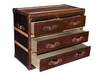 Kommode Richmond Vintage Leder Holz Leinen braun Vintage Cigar - Vorschau 1