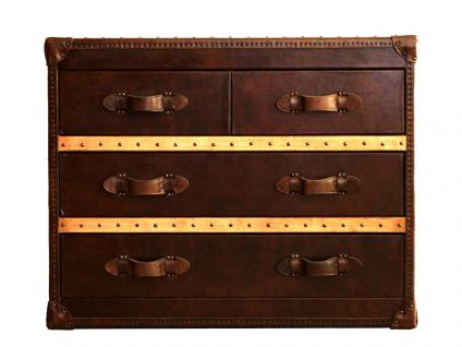 Kommode Richmond Vintage Leder Holz Leinen braun Vintage Cigar - Vorschau 2