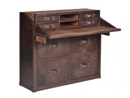 Kommode / Sekretär Coleby Chest HALO Dark Brown Suede Vintage-Leder