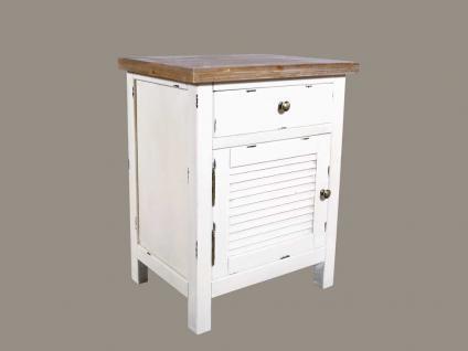 Nachtschrank Bretagne Landhaus Stil Holz Vintage Look creme weiß
