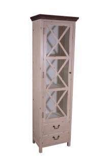 Vitrinenkommode Paris schmal Holz Vintage Look creme weiß - Vorschau 1