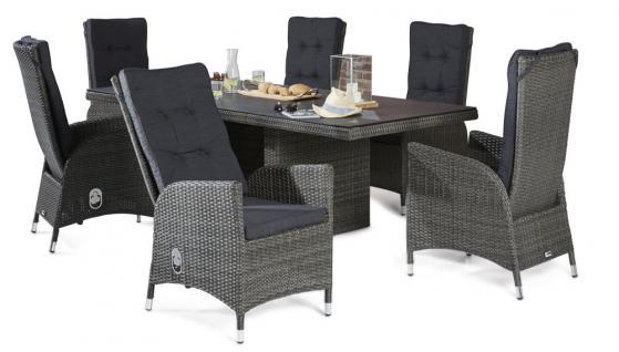 Polyrattan Tischgruppe Rocking Grau Mix Gartenset Gartengarnitur Tisch 6 Stühle