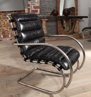 Freischwinger-Sessel Brisbane Vintage-Leder Stahlrohr - Vorschau 1