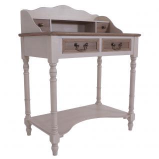 Sekretär Provence Landhaus Stil 4 Schubladen Holz Vintage Look creme weiß