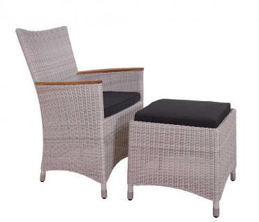 Armlehnenstuhl Chelsea White Wash Geflecht mit Fußhocker Armchair Polyrattan Gartensessel