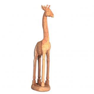 Wohndekoration Tierskulptur Giraffe aus Teakholz ca. 150 cm