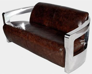 Design-Clubsofa Mars 2 Sitzer Chrom und Vintage-Leder