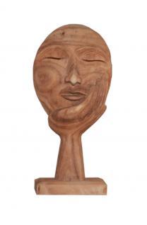 """Wohndekoration Skulptur """"Maske, getragen von einer Hand"""" aus Teakholz M - Vorschau"""
