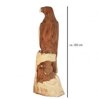 Wohndekoration Vogelskulptur Adler aus Teakholz ca. 185 cm