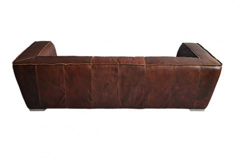 Clubsofa Darkford 3-Sitzer Leder Chrom - Vorschau 2
