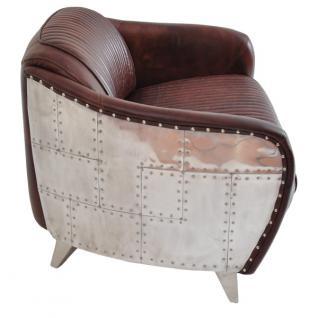 Clubsofa Aberford 2-Sitzer Vintage Leder Aluminium - Vorschau 3
