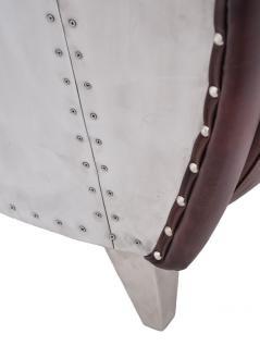 Clubsofa Aberford 2-Sitzer Vintage Leder Aluminium - Vorschau 4