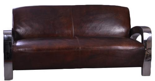 Memphis Design-Clubsofa 3-Sitzer Vintage Leder Chrom - Vorschau 2
