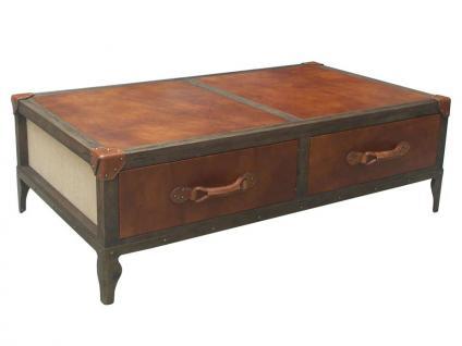 Couchtisch Auburn Vintage Leder Leinen Kofferdesign