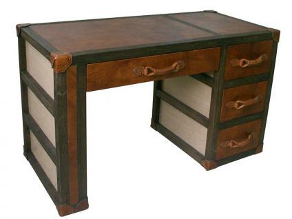 Schreibtisch Auburn Vintage Leder Leinen 4 Schubladen - Vorschau