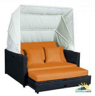Liegeinsel Beach Lounge Chai Duo / dunkel grau-braun mit Polster- und Kissenset in Orange