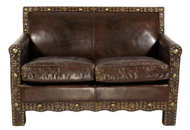 Ledersofa Berkshire 2-Sitzer Vintage-Leder Messingieten - Vorschau