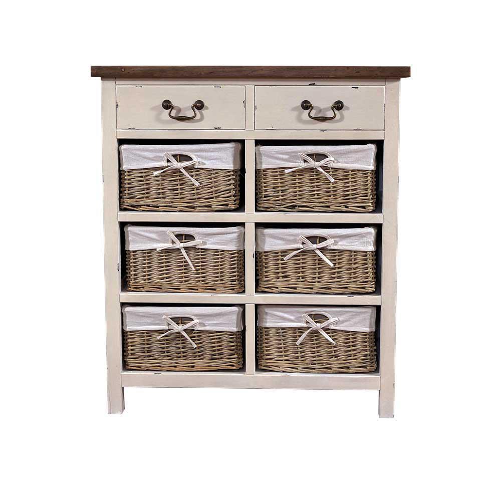kommode provence holz 8 schubladen vintage look creme wei kaufen bei mehl wohnideen. Black Bedroom Furniture Sets. Home Design Ideas