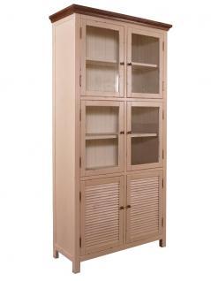 Vitrinenschrank Bretagne Landhaus Stil Holz Vitrine Vintage Look creme weiß