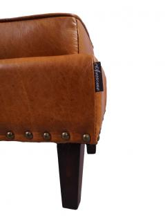 Fußhocker Cincinnati Vintage-Leder Columbia Brown 5