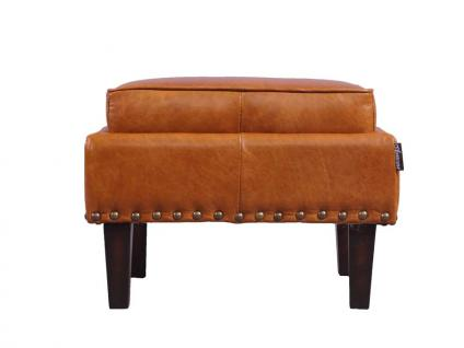 Fußhocker Cincinnati Vintage-Leder Columbia Brown 2