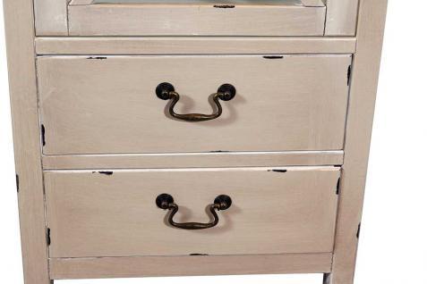 Vitrinenkommode Paris schmal Holz Vintage Look creme weiß - Vorschau 4