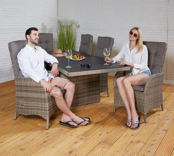 Polyrattan Tischgruppe Rabida Champagner Tisch 6 Stühle