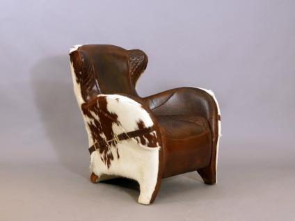 Designsessel Buffalo Kuhfell Vintage Leder - Vorschau 1