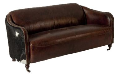 Clubsofa Dallas 3-Sitzer Vintage-Leder Kuhfell