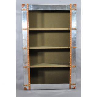 Regal Bookcase aus Aluminium und Vintage Leder mit vier Fächern - Vorschau 2