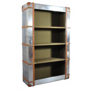 Regal Bookcase aus Aluminium und Vintage Leder mit vier Fächern - Vorschau 1