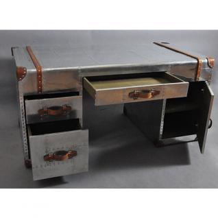 Schreibtisch Winster aus Aluminium und Vintage-Leder - Vorschau 2