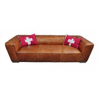 Clubsofa Longford 3-Sitzer Vintage-Leder Chrom - Vorschau 1