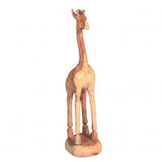 Wohndekoration Tierskulptur Giraffe aus Teakholz ca. 110 cm