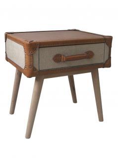 Beistelltisch Foxboro Vintage Leder Leinen Kofferdesign