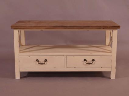 Couchtisch Loire Landhaus Stil Holz Vintage Look creme weiß - Vorschau 2