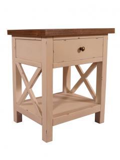 Nachttisch Loire Landhaus Stil Holz Vintage Look creme weiß