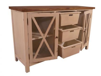 Sideboard Loire Landhaus Stil Holz Vintage Look creme weiß