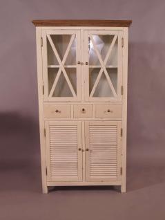 Vitrinenschrank Loire Landhaus Stil Holz Vitrine Vintage Look creme weiß - Vorschau 2