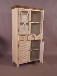 Vitrinenschrank Loire Landhaus Stil Holz Vitrine Vintage Look creme weiß - Vorschau 3