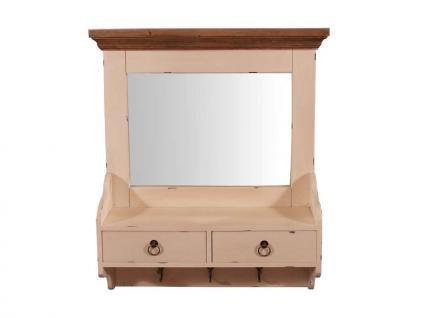 Wandgarderobe Provence mit Spiegel Landhaus Stil Holz 2 Schubladen Vintage Look creme weiß