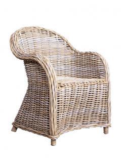 Armlehnenstuhl Roma Rattan Geflecht Grey Wash Armchair
